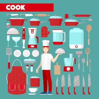 Набор иконок профессиональный повар с кухонной утварью. иконки