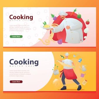 食品準備中のプロの調理バナーイラスト