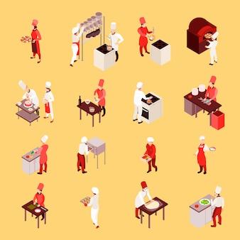 고립 된 베이지 색 배경에 요리 도구로 작업하는 동안 직원과 전문 요리 아이소 메트릭 아이콘