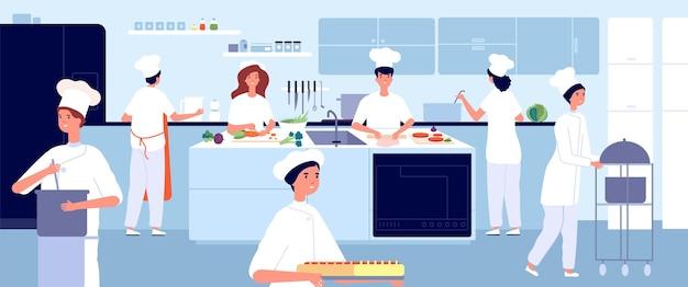 전문 요리 주방. 레스토랑 요리사, 상업 식품 산업. 플랫 셰프와 웨이터. 카페 요리, 환대