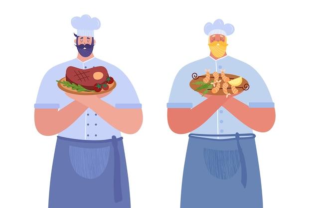 Профессиональные повара. первый повар держит стейк. второй повар держит креветки.