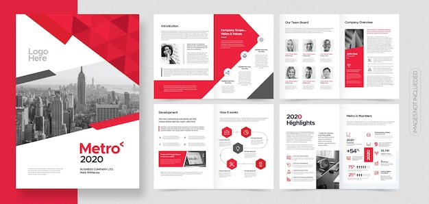 Professional corporate business brochure or booklet template