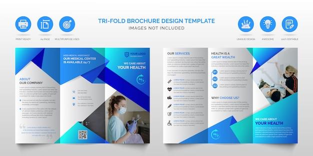 Шаблон брошюры профессиональный корпоративный современный синий многофункциональный бизнес trifold