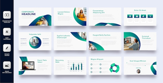 Professional corporate presentation slide template set
