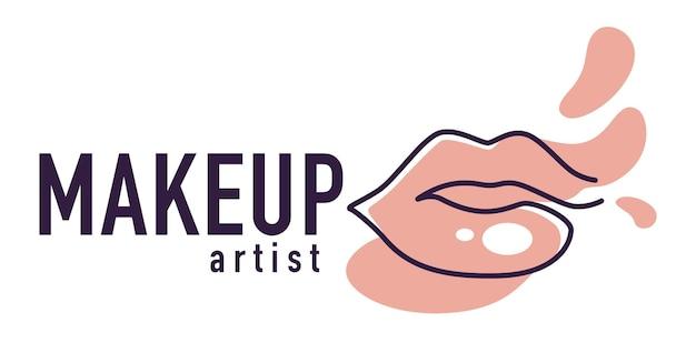 전문 미용사 또는 메이크업 아티스트, 완전한 여성 입술과 비문이 있는 로고타입 또는 상징. 화장품 관리 ot 마스터의 워크샵. 페인트와 텍스트 배너가 튀었습니다. 평면 스타일의 벡터