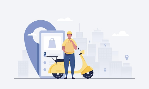 Professional couriers deliver orders and flat scooters. order tracking mobile app. vector illustration.