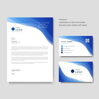 Professional creative letterhead and business card template