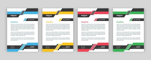 귀하의 비즈니스를 위한 전문적인 크리에이티브 레터헤드 템플릿 디자인
