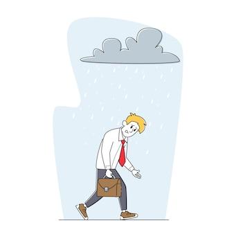 プロの危機の概念。問題のブリーフケースに苦しんでいる落ち込んでいるビジネスマンは、頭の上の雨雲の下を歩くことに不満を感じます