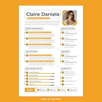 Шаблон для печати профессионального резюме в стиле современного дизайна