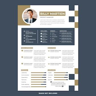Professional cv resume print template in modern design style