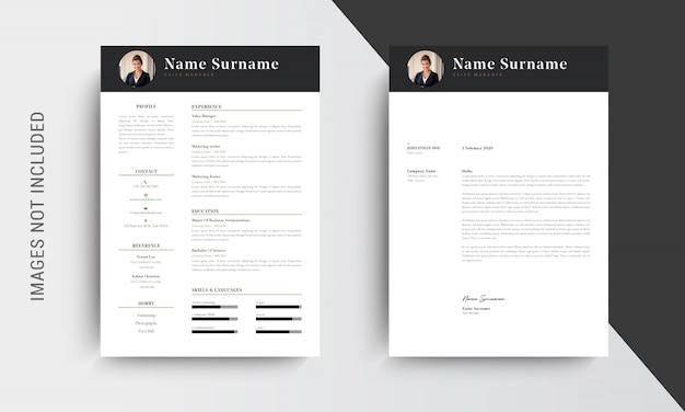 Professional cv resume template design and letterhead, cover letter,  template job applications, black and white