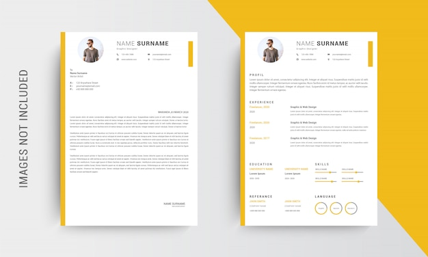 Professional cv resume template design and letterhead
