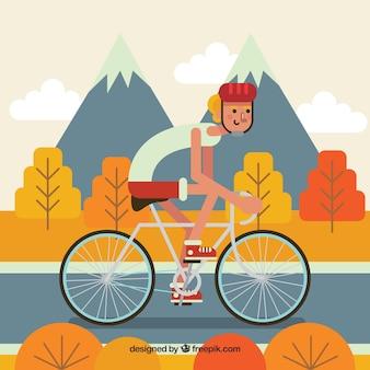 プロのサイクリストと山々