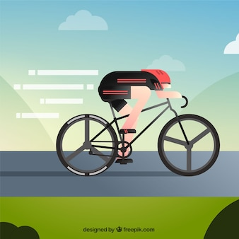 Professional cyclist riding fast