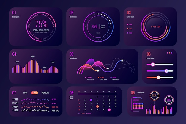 Professional dashboard element collection