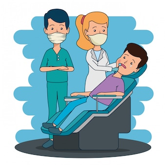 Professional dentist man and woman with patient