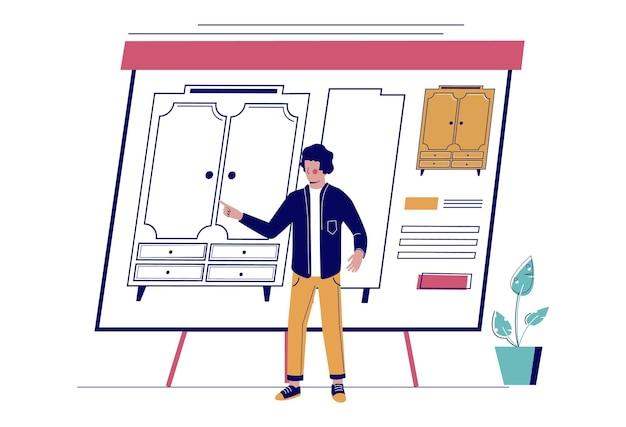 Профессиональный дизайнер, представляя подробные чертежи шкафа или шкафа, плоские векторные иллюстрации. концепция дизайна мебели.