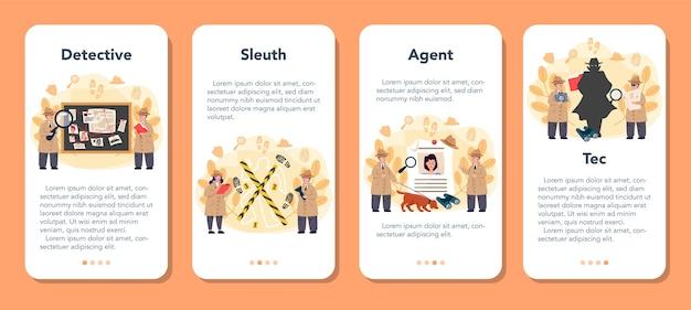 Набор баннеров для мобильного приложения профессиональный детектив