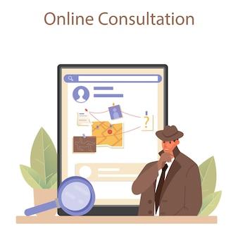 전문 탐정 온라인 서비스 또는 플랫폼. 범죄 장소를 조사하고 단서를 찾는 기관. 증거를 수집하여 범죄를 해결하는 사람. 온라인 상담. 벡터 평면 그림