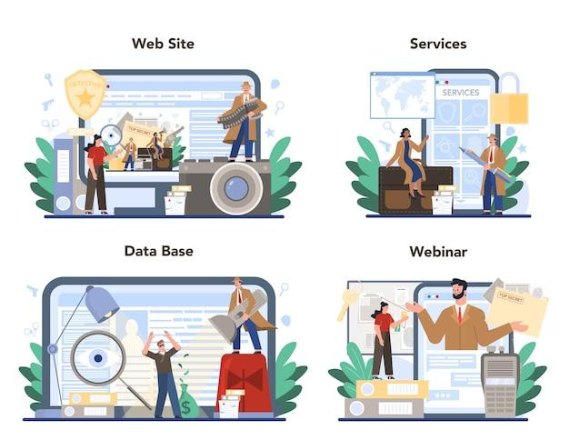 Профессиональный детективный онлайн-сервис или набор платформ Premium векторы