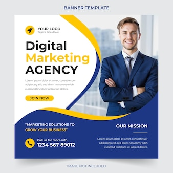 Professional digital business agency marketing social media post and banner template design