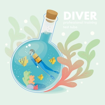 Professional diver concept in   isometric graphic