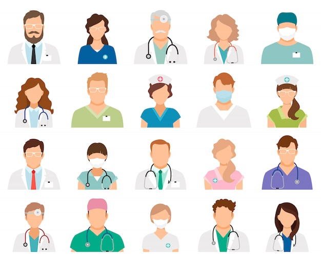 Professional doctor avatars isolated. medicine professionals and medical staff people vector illustration