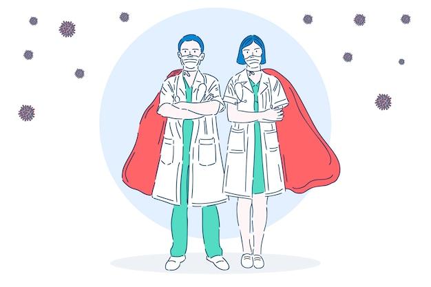 Профессиональный врач в медицинской маске. супергерой. медицинский работник. векторная иллюстрация в современном линейном стиле.