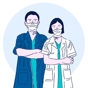 医療マスクの専門医師。スーパーヒーロー。医療従事者。モダンな直線的なスタイルのベクトルイラスト。
