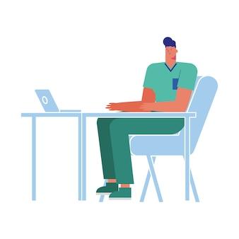 ノートパソコンのアバターのキャラクターイラストで働くプロの医師外科医