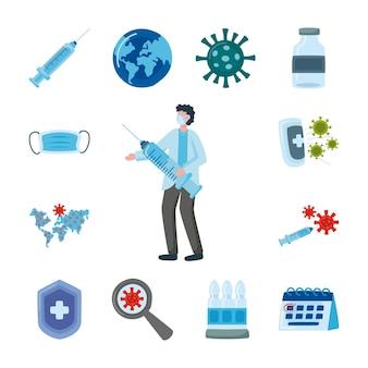 Профессиональный врач в медицинской маске с вакцинным шприцем и набор иконок иллюстрации