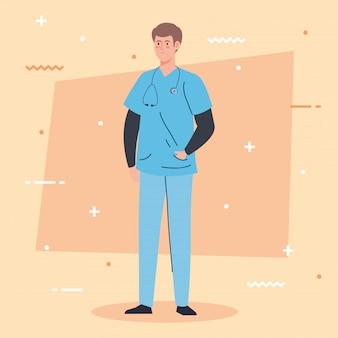 청진 기 및 유니폼, 남자 의사, 병원 노동자 벡터 일러스트 레이 션 디자인 전문 의사