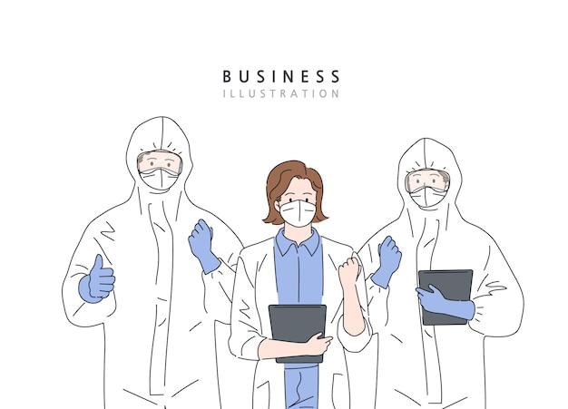 전문 의사와 간호사가 보호 스위트를 착용하고 코로나 바이러스와 싸우기 위해 함께 서 있습니다.
