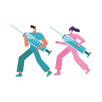 Professional doctors couple wearing medical masks lifting injections illustration