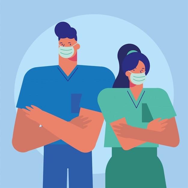 医療マスクを身に着けている専門医師のカップル