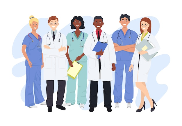 Professional doctors and nurses posing together