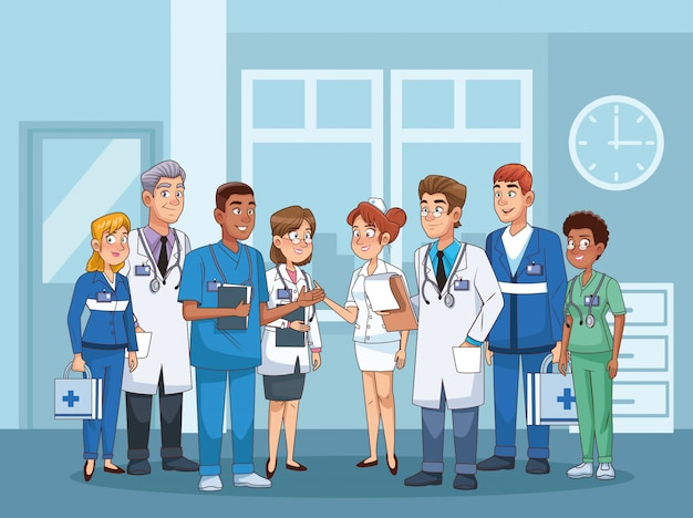 Профессиональные врачи в больничных персонажах
