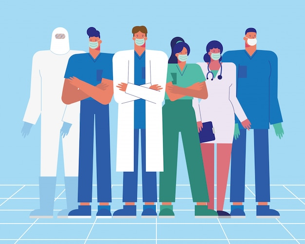 Professional doctors staff wearing medical masks