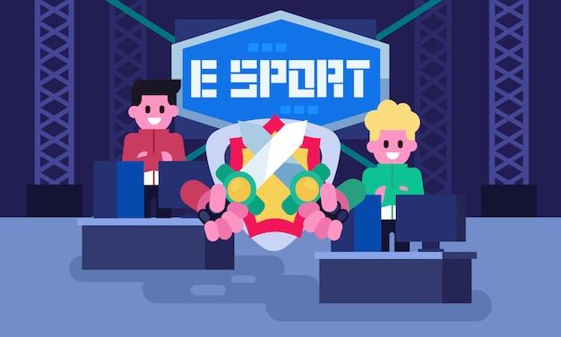 전문 전자 스포츠 게이머, 게임 토너먼트에서 경쟁 비디오 게임. 경기 시작 전 대기. 게임 경기장