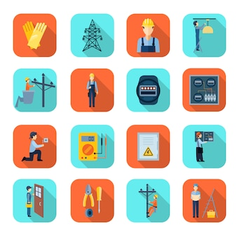 Professional electrician man fixing problems flat icons collection with high voltage wire pylon abstract isolated vector illustration