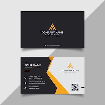 Профессиональный элегантный черный и оранжевый современный шаблон дизайна визитной карточки