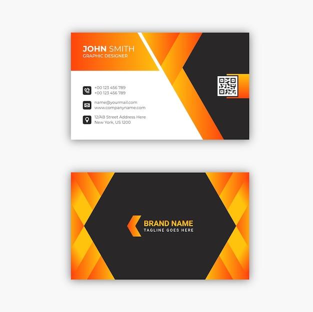 プロのエレガントな黒とオレンジのモダンな名刺テンプレートデザインプレミアムベクトル