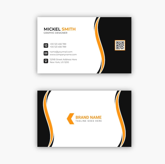 Professional elegant black and white modern business card template design premium vector