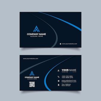 Профессиональный элегантный синий и черный современный шаблон дизайна визитной карточки