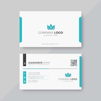 プロフェッショナルでエレガントな青と白のモダンな名刺デザインテンプレート Premiumベクター