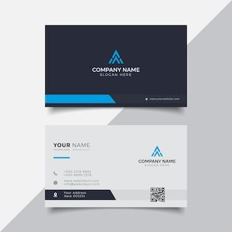 Профессиональный элегантный синий и белый современный шаблон дизайна визитной карточки