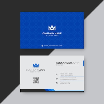 Professional elegant blue and white modern business card design template