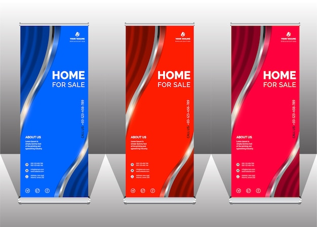 Professional elegant roll up banner and business template