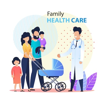 Professional family healthcare promotion banner